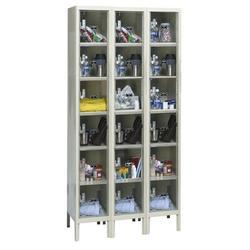 Hallowell Safety-View 6 Tier 3 Wide Locker Metal in White, Size 78.0 H x 36.0 W x 15.0 D in | Wayfair USVP3258-6A-PT