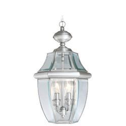Livex Lighting Monterey 2 Light Outdoor Hanging Lantern Glass/Metal in Gray, Size 19.0 H x 10.5 W x 10.5 D in | Wayfair 2255-91