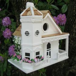 Home Bazaar Fledgling Series Flower Pot Cottage 9 in x 7.5 in x 6.5 in Birdhouse in White, Size 9.0 H x 7.25 W x 6.5 D in | Wayfair HB-9095WS