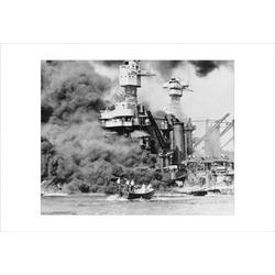 Buyenlarge USS West Virginia Alight in Pearl Harbor Photographic Print on Wrapped CanvasCanvas & Fabric in Black/Brown/White | Wayfair 19582-7C2030
