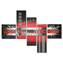 Wieco Art Abstract Landscape Oil Paintings on Canvas Wall Art for Living Room Bedroom Home Decorations Red Clouds Silver Lines Modern 5 Piece Stretched and Framed 100% Hand Painted Grace Artwork