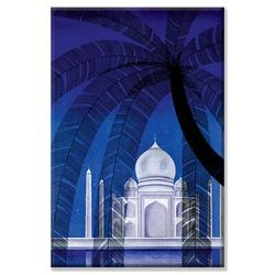 Buyenlarge 'In Agra' Graphic Art on CanvasCanvas & Fabric in Blue/Brown/White, Size 30.0 H x 20.0 W x 1.5 D in | Wayfair 20517-2C2030