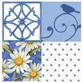 Thirstystone Garden Party 4-Patch Occasions Coasters Set in Blue/White, Size 4.25 H x 1.25 D in | Wayfair FSY16