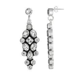 Sterling Silver Crystal Quartz Drop Earrings, Women's, White