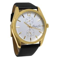 Kenneth Cole KCW1031 Gold Silver White Date Dial Black Leather Men Watch NEW