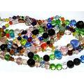 Glass Bead Strands in Bulk 800+ Bohemian Mixed Beads - 15 Strands - Lampwork Millefiori Faceted Cats Eye