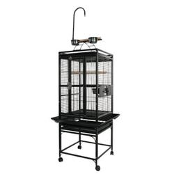 """A&E Cage Co. Small Play Top Bird Cage, Iron in Green/White/Black, Size 54""""H X 18""""W X 18""""D 