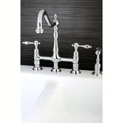 Kingston Brass Tudor Double Handle Widespread Double Handle Kitchen Faucet w/ Brass Spray in Gray | Wayfair KS1271TALBS
