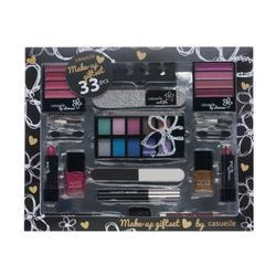 Treffina Make-Up Giftset Coffret-cadeau en papier avec ensemble de produits de maquillage Noir mat avec impressions noires brillantes