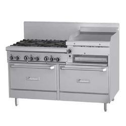 """Garland GFE60-6R24RR 60"""" 6 Burner Gas Range w/ Griddle/Broiler & (2) Standard Ovens, Liquid Propane"""