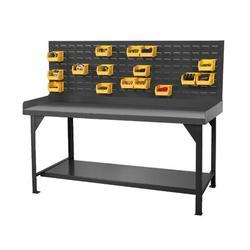 Durham Manufacturing Heavy Duty Steel Top Workbench Plastic in Gray, Size 34.0 H x 72.0 W x 30.0 D in   Wayfair DWB-3072-BE-LP-95