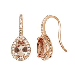 14k Rose Gold Over Silver Simulated Morganite and Lab-Created White Sapphire Halo Teardrop Earrings, Women's, Pink