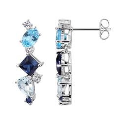 Sterling Silver Lab-Created Sapphire and Blue Topaz Linear Drop Earrings, Women's