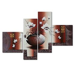 Wieco Art Large Size Decorative Elegant Flowers 4 Panels 100% Hand-Painted Modern Contemporary Artwork Floral Oil Paintings on Canvas Wall Art for Home Decorations Wall Decor L