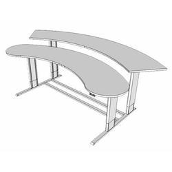 Populas Furniture Infinity Height Adjustable Half-Circle Standing Desk Converter Metal in White/Brown, Size 27.0 H x 104.0 W x 45.0 D in   Wayfair