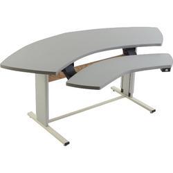 Populas Furniture Infinity Height Adjustable Half-Circle Standing Desk Converter Metal in White/Brown, Size 27.0 H x 72.0 W x 33.0 D in | Wayfair