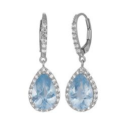 Lab-Created Aquamarine and Lab-Created White Sapphire Sterling Silver Halo Teardrop Earrings, Women's, Blue