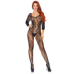 Leg Avenue Women's One Size Seamless Swirl Lace Long Sleeved Crotchless Bodystocking Sexy Lingerie Black