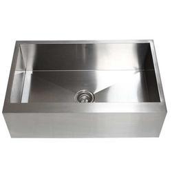 "eModern Decor Ariel 33"" L x 21"" W Stainless Steel Single Bowl Farmhouse Kitchen SinkStainless Steel in Gray, Size 10.0 H x 33.0 W x 21.0 D in"