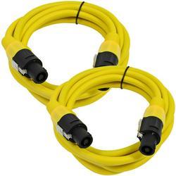 Seismic Audio Pair of 12 Gauge 5' Yellow Speakon to Speakon Speaker Cables Yellow - TW12S5Yellow-Pair
