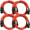 Seismic Audio 4 Pack of 12 Gauge 5' Red Speakon to Speakon Speaker Cables Red - TW12S5Red-4Pack