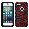 Insten Natural Black/Zebra Skin Red/BlackTUFF eNUFF Hybrid Rugged Hard Shockproof Case for iPhone SE 5S 5
