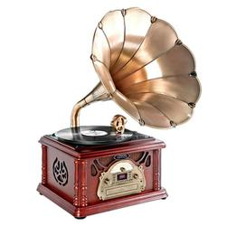 Pyle PTCDCS3UIP - Retro Vintage Classic Style Turntable Phonograph Record Player with Horn and USB/MP3 Recording
