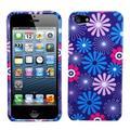 Insten Blue Purple Flower Fireworks Rubberized Hard Case Cover for iPhone SE 5 5G 5th Gen