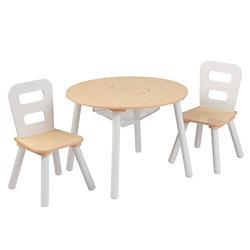 KidKraft Round Storage Table & 2 Chair Set - Natural & White, 23.5 x 23.5 x 17.3