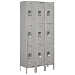 Salsbury Industries 63362GY-U Triple Tier 36-Inch Wide 6-Feet High 12-Inch Deep Unassembled Standard Metal Locker, Gray