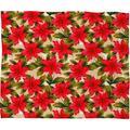 The Holiday Aisle® Garuda Poinsettia Plush Fleece Throw Metal in Green/White, Size 40.0 H x 30.0 W in | Wayfair 51886-flesma