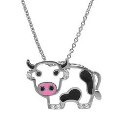 """""""Sophie Miller Black and White Cubic Zirconia Sterling Silver Cow Pendant Necklace, Women's, Size: 18"""""""""""""""