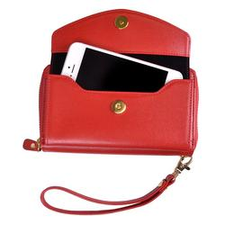 Royce Leather Saffiano Slim Cell Phone Wallet, Red