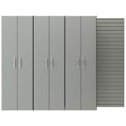 Flow Wall 3 Piece Tall Cabinet Storage SetManufactured Wood in Gray, Size 72.0 H x 96.0 W x 17.0 D in | Wayfair FCS-9612-6S-3S