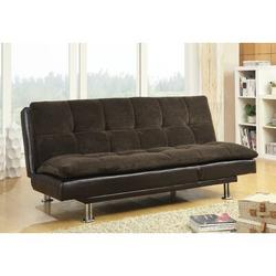 Wildon Home® Tufted Back Convertible Sofa Metal in Brown, Size 33.5 H x 73.0 W x 37.0 D in | Wayfair AOAS1141 21397863