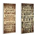 """Stupell Industries Outdoors & Hunting 2 Piece Textual Art Wall Plaque Set, Wood in Brown, Size Mini 10""""-17"""" 