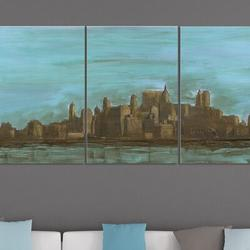 Stupell Industries 'Manhattan Oil Painting-look' - 3 Piece Print on WoodWood in Brown/Green, Size 17.0 H x 0.5 W x 11.0 D in   Wayfair
