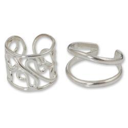 Sterling silver ear cuff earrings, 'Sleek Filigree' (pair)