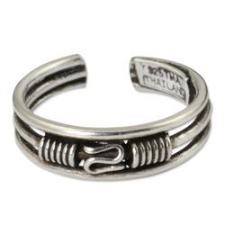 Sterling silver toe ring, 'Origins'