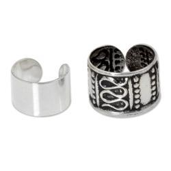 Sterling silver ear cuff earrings, 'Two Epochs' (pair)