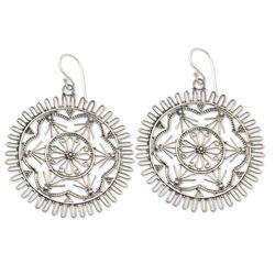 Sterling silver dangle earrings, 'Purnama'