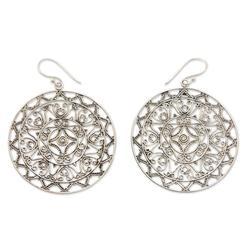 Sterling silver dangle earrings, 'Sang Surya'