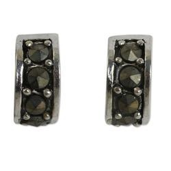 Sterling silver and marcasite half hoop earrings, 'Ever Happy'