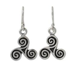 Handcrafted sterling silver earrings, 'Celtic Tri Spiral'