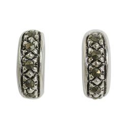 Sterling silver and marcasite half hoop earrings, 'Dew'