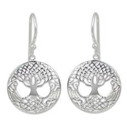 Sterling silver dangle earrings, 'Celtic Tree'