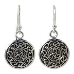 Sterling silver dangle earrings, 'Sister Goddess'