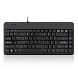 Perixx Periboard-409H, Mini Keyboard with USB Port - 12.40x5.79x0.79 Inch Dimension - Piano Finish Black - Build In 2X USB2.0 Hubs - USB Interface, US English Layout