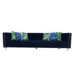 """ModShop 96"""" Velvet Tuxedo Arm Sofa Velvet in Blue/White, Size 16.0 H x 96.0 W x 36.0 D in   Wayfair SOF0014"""