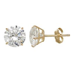 Emotions 10k Gold Cubic Zirconia Solitaire Earrings, Women's, White